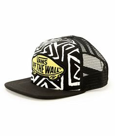 b315cf06ca6 The geo print front panels of this trucker hat are contrasted by a bright  Vans Off The Wall patch and mesh back panels for a fresh look you ll love.