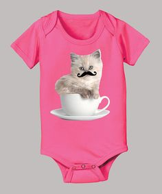 Take a look at this Raspberry Mustached Kitten Teacup Bodysuit - Infant by Rachael Hale on #zulily today!