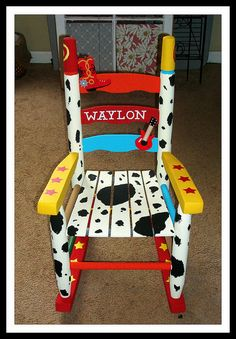 Custom painted rocking chair for my nephew -- Find me on Facebook -- Elegantly Centered
