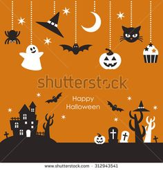 Scenery of Halloween night & Ornaments