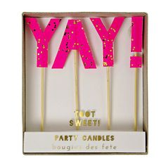 Yay Bright Pink Party Candles Meri Meri Toot by Florrieandboo