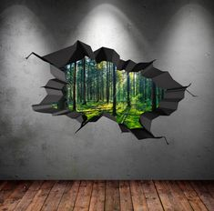 Items similar to Full Colour Wall Decals Woods Forest Trees Jungle Cracked Wall Sticker Stars Mural Decal Graphic Wall Art Bedroom Wall Stickers on Etsy Childrens Wall Decals, 3d Wall Decals, Dinosaur Wall Decals, 3d Wall Art, Mural Art, Wall Murals, Art 3d, Wall Stickers Stars, 3d Wall Painting