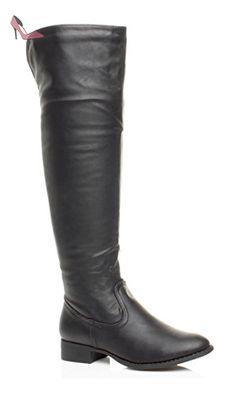 Bottes cuissardes femmes Bottes hautes élastique Stretch Équitation Fermeture Éclair Talon Bas Taille