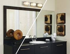 A contemporary flair was added to the bathroom with some accessories and a MirrorMate frame in Tribeca black.  The pre-taped frame just pressed on the glass while the mirror was on the wall for a quick and easy mirror makeover. #mirrormate; #diy; #frameyourmirror