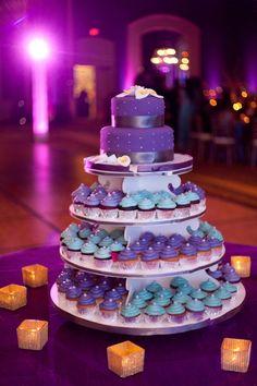 purple turquoise cupcake tower | courtesy Garrett Frandsen Photography | www.shaadibelles.com