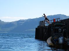 Take the plunge! Diving/jumping off the pier in Inverie Village is a highlight amongst the local and visiting kids. The Locals, Diving, Community, Mountains, Highlight, Opportunity, Summer, Travel, Life