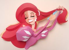 Ariel and her Dinglehopper - The Little Mermaid by nathanna erica Kirigami, Deco Disney, Disney Fan Art, Disney Little Mermaids, Ariel The Little Mermaid, Disney And More, Disney Love, Japanese Paper Art, Paper Illustration