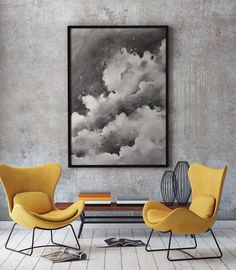 Jiri Zraly's painting Clouds No. 2. Interior template by http://graphicgoogle.com/  Interior, design, painting, wall, clouds, poster, yellow, black and white, monochrome.