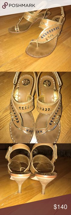 Tory Burch leather sandals with leather insoles Tan and navy heels with gold accents. In brand new condition and looking for a new home! Tory Burch Shoes