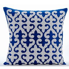 Blue Royale - 16x16 Inch Royal Blue Embroidered Silk Throw Pillow.