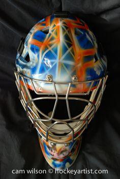 Oil Derrick Theme Goalie Mask - Airbrushing by Cam Wilson www.hockeyartist.com