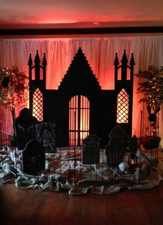 Storybook castle backdrop.. I mean seriously!! How cool is this? Could possibly do something like this around the front door? Just in case wind/rain - or sadly, snow.