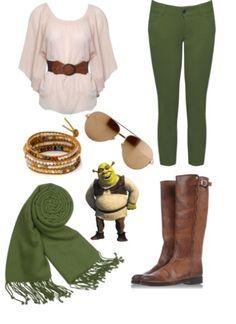 Shrek Inspired Outfit w/ leopard print scarf Disney Princess Outfits, Disney Dress Up, Disney Bound Outfits, Disney Inspired Outfits, Themed Outfits, Movie Outfits, Shrek, Nerd Fashion, Disney Fashion