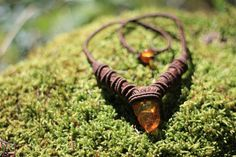 Astounding brown macrame necklace with amber by gimacrame on Etsy