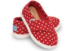 Red Wool Dot Tiny TOMS Classics | TOMS
