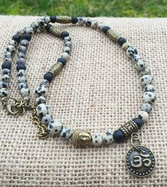 Check out this item in my Etsy shop https://www.etsy.com/uk/listing/255396082/mens-buddha-necklace-dalmatian-jasper