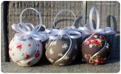Pink & Grey Swirl,  miniature Ornaments in pink, grey and white, kimekomi method, fabric ornament