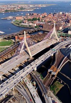 """The Leonard P. Zakim Bunker Hill Memorial Bridge, commonly referred to as the Zakim Bridge, was part of Boston's Big Dig project. The cable-stayed design, which makes the supporting towers look like giant legs straddling the road below, has led some locals to refer to it jokingly as the """"Bill Buckner Bridge,"""" after the former Red Sox first baseman whose error in the 1986 World Series helped cost the team the championship."""