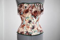 Cute floral brocade overbust corset with frill. by Corsettery