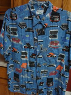 Reyn Spooner Comrex Print Rayon Shirt Audio Equipment 2XL 2X XXL Blue Camp RAYON #ReynSpooner #ButtonFront