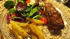 Maalaisperunoita ja grillattua naudan filettä