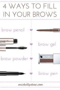 4 ways to fill in your brows - Try our Brow Set, Brow Powder, Brow Pencil and Brow Definer!