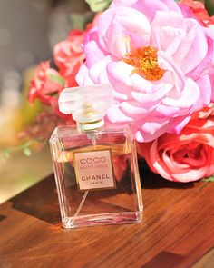 COCO CHANEL romantic perfume with red and pink flowers still life 8x10 decorative fine art photographic print