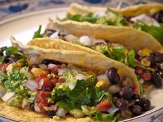 Low Fat Vegan Chef's Mexican Black Bean and Corn Tacos with Costa Rican Cabbage Salad with recipe video!