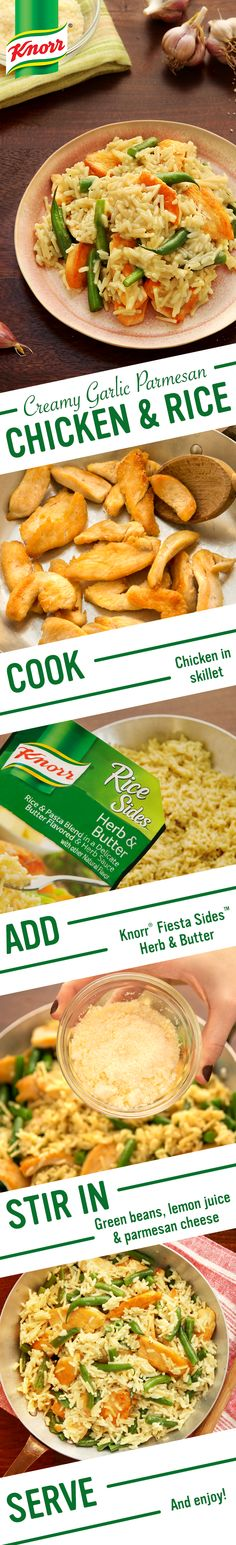 Ciao! Knorr's delicious Creamy Garlic Parmesan Chicken & Rice celebrates Italian flavor & ingredients- savory garlic, zesty citrus, & rich cheese. Make this one skillet recipe for dinner tonight- less than half an hour from prep to plate! 1. Cook chicken 2. Add  Knorr® Rice Sides™ - Herb & Butter 3. Stir in green beans, lemon juice, & parmesan cheese. Sprinkle w/ parmesan cheese. Buon appetito!
