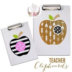 """Apple Monogram Decal\Stickers on clear Clipboards. Perfect gift for your favorite teachers! 7"""" vinyl decal made out of permanent vinyl. Please DO NOT purchase this listing I will make a custom listing for you. Just comment below if you'd like to purchase one, what style, font & your initials (first, last, middle) Also the color of vinyl you'd like for each design element!!  You can always email me at sophiebreanna@gmail.com if you have any questions!!"""