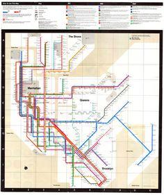 Massimo Vignelli: New York City subway map, 1972.