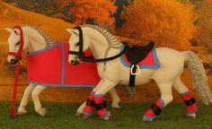 Sattel Trense Decke Gamaschen Halfter Zubehör passend für Schleich Pferde