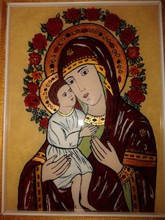 Religious Icons, My Glass, Mother And Child, Catholic, Santa, Anime, Mother Son, Mother And Baby, Cartoon Movies
