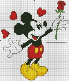 Disney Cross stitch chart mickey mouse rose for you uk Cross Stitching, Cross Stitch Embroidery, Embroidery Patterns, Disney Stitch, Disney Quilt, Stitch Character, Disney Cross Stitch Patterns, Stitch Cartoon, Cross Stitch Baby