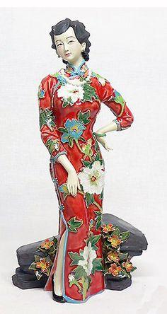 RP: Shiwan Ceramic Shanghai Lady in Cheongsam Figurine. - art-sam.com