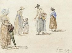 Costumes of ordinary women and children. Studies of female figures with children, James Ward