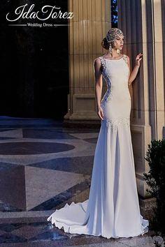 New Design Trumpet-Mermaid Bateau Natural Court Train Stretch Crepe Ivory Sleeveless Open Back Wedding Dress Draped 01007 #weddingdresses #designercollections #cocomelody