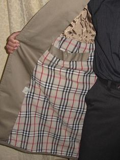 Pierre Cardin Designer 1960's Vintage Men's Tan Gabardine Belted Trench Coat Right Inside Pockets
