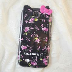for samsung galaxy s4 hello kitty case tpu soft case black flowers case(China (Mainland))