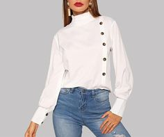 Material: PolyesterClothing Length: RegularCollar: TurtleneckFabric Type: BroadclothColor: WhiteCollar: High NeckDecoration: Ruffle, Button Size Chest Length S / / M / / L / / XL / / Dubai Fashion, High Fashion, Spring Fashion, Autumn Fashion, White Turtleneck, Spring Wear, White Long Sleeve, Denim Fashion, What To Wear