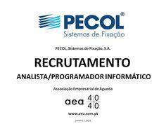 """A Associação Empresarial de Águeda divulga o  Recrutamento para a """"PECOL, Sistemas de Fixação, S.A."""" _____________ANÚNCIO_____________ http://www.aea.com.pt/admin/files/noticias/RECRUTAMENTO_Pecol__programador.pdf ou em  www.aea.com.pt  Faça LIKE em https://www.facebook.com/pages/Associação-Empresarial-de-Águeda/180305488683047 E  Acompanhe o FACEBOOK da AEA com mais informações úteis sobre: EMPREGOS, FORMAÇÃO, EMPREENDEDORISMO, etc."""