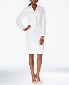 Kasper Jacquard Double-Hem Jacket Skirt Suit