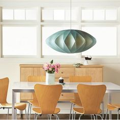 Mid-Century Modern: Lighting - George Nelson inspired Saucer Pendant (Bubble Lamp Series) Chairs: Arne Jacobsen
