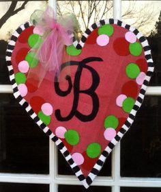 Heart Initial BUrlap Door Hanger by BrunsonBerryPaints on Etsy, $40.00