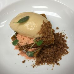 New dessert... Sweet potato cake sweet potato ice cream brown butter crumble salted caramel consomme (tableside) by willywonkuh