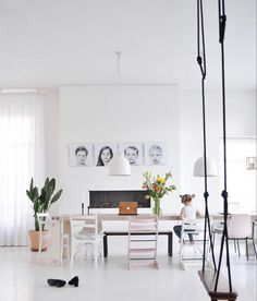 Black And White Interior, Image Originale, House Rooms, Dining, Instagram, Home Decor, Home, Food, Decoration Home