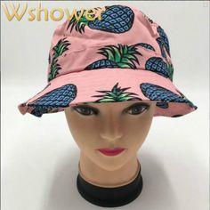 00ad03aa85a Cotton Pineapple fruit printed bucket hats Pineapple Fruit