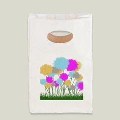 Splat Painted Flower Scene Lunch Bag by #OneArtsyMomma @BoomBoomPrints $29.99 #lunchbag #flowerlunchbag