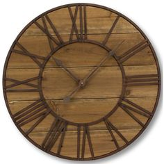 It's round, it's Roman, and planks of wood form the round face. The Melrose International Round Roman Numeral Wall Clock strikes a. How To Make Wall Clock, Farmhouse Wall Clocks, Thing 1, Wood Clocks, Rustic Clocks, Plank Walls, Grandfather Clock, Iron Wall, Roman Numerals