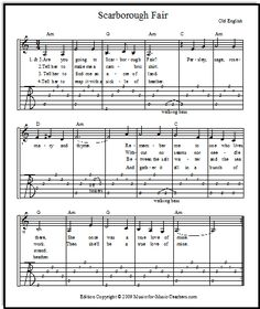 Scarborough Fair is a beloved old song from England which sounds beautiful on guitar.  Download free easy guitar tabs, and fingerstyle guitar tabs.